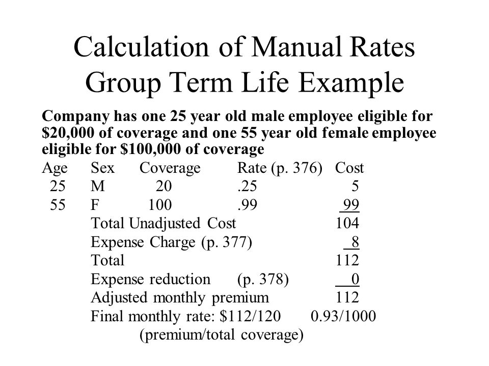 Calculation of Manual Rates Group Term Life Example Company has one 25 year old male employee eligible for $20,000 of coverage and one 55 year old fem