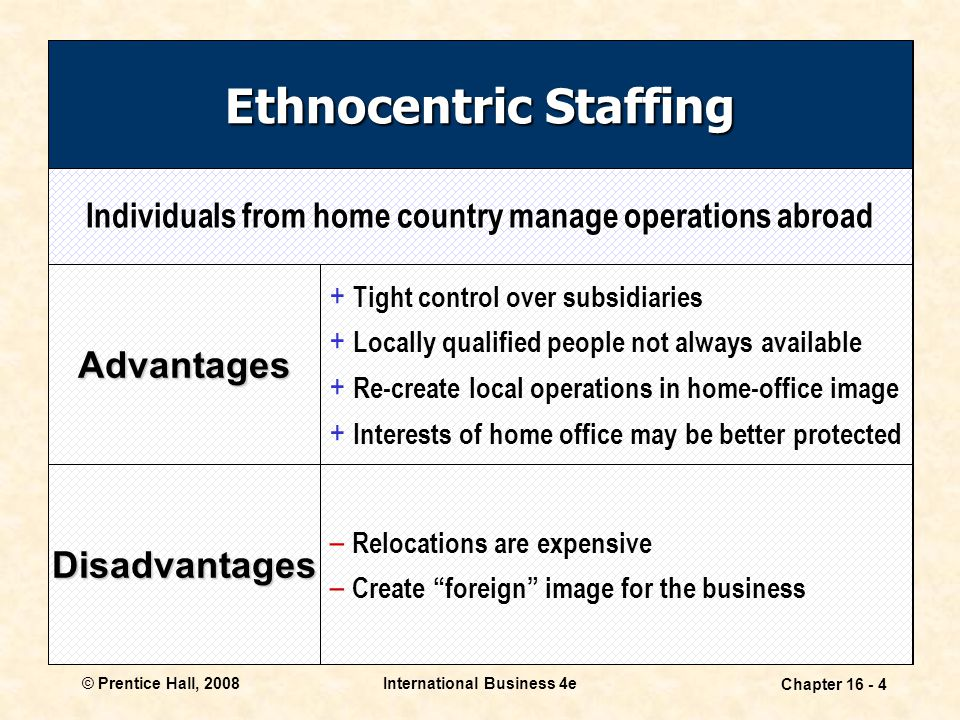 © Prentice Hall, 2008International Business 4e Chapter 16 - 4 Ethnocentric Staffing Advantages + Tight control over subsidiaries + Locally qualified people not always available + Re-create local operations in home-office image + Interests of home office may be better protected – Relocations are expensive – Create foreign image for the business Disadvantages Individuals from home country manage operations abroad