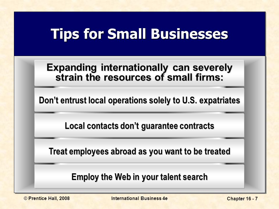 © Prentice Hall, 2008International Business 4e Chapter 16 - 7 Tips for Small Businesses Expanding internationally can severely strain the resources of small firms: Don't entrust local operations solely to U.S.