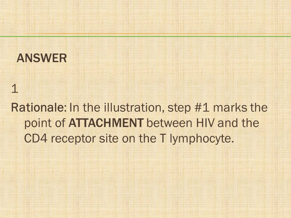 ANSWER 1 Rationale: In the illustration, step #1 marks the point of ATTACHMENT between HIV and the CD4 receptor site on the T lymphocyte.