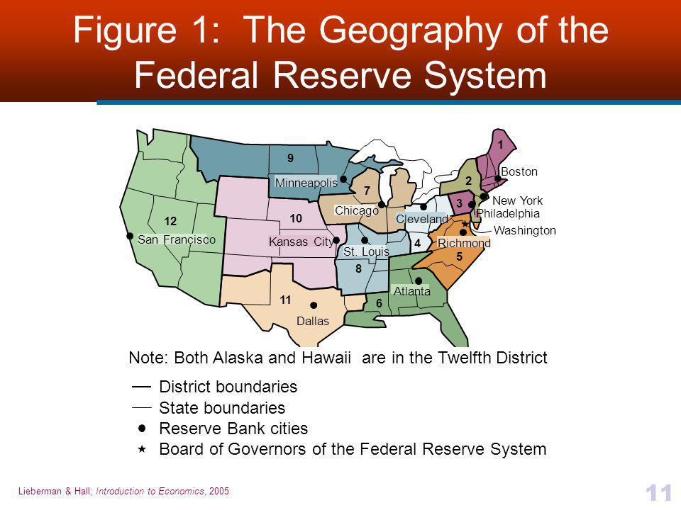 Lieberman & Hall; Introduction to Economics, 2005 11 Figure 1: The Geography of the Federal Reserve System District boundaries State boundaries Reserv