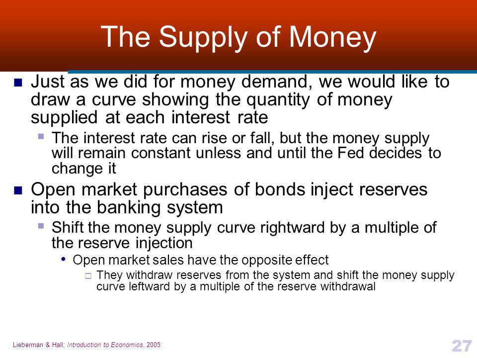 Lieberman & Hall; Introduction to Economics, 2005 27 The Supply of Money Just as we did for money demand, we would like to draw a curve showing the quantity of money supplied at each interest rate  The interest rate can rise or fall, but the money supply will remain constant unless and until the Fed decides to change it Open market purchases of bonds inject reserves into the banking system  Shift the money supply curve rightward by a multiple of the reserve injection Open market sales have the opposite effect  They withdraw reserves from the system and shift the money supply curve leftward by a multiple of the reserve withdrawal