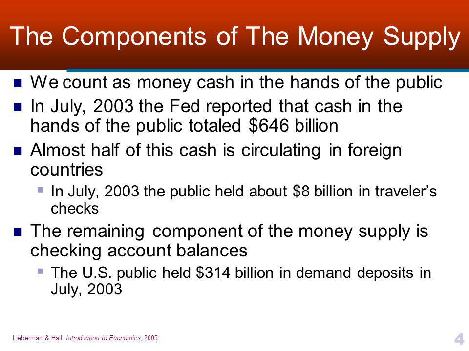 Lieberman & Hall; Introduction to Economics, 2005 4 The Components of The Money Supply We count as money cash in the hands of the public In July, 2003 the Fed reported that cash in the hands of the public totaled $646 billion Almost half of this cash is circulating in foreign countries  In July, 2003 the public held about $8 billion in traveler's checks The remaining component of the money supply is checking account balances  The U.S.