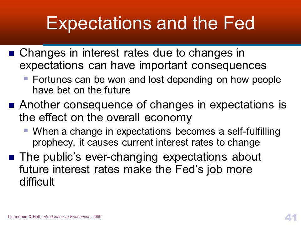 Lieberman & Hall; Introduction to Economics, 2005 41 Expectations and the Fed Changes in interest rates due to changes in expectations can have important consequences  Fortunes can be won and lost depending on how people have bet on the future Another consequence of changes in expectations is the effect on the overall economy  When a change in expectations becomes a self-fulfilling prophecy, it causes current interest rates to change The public's ever-changing expectations about future interest rates make the Fed's job more difficult
