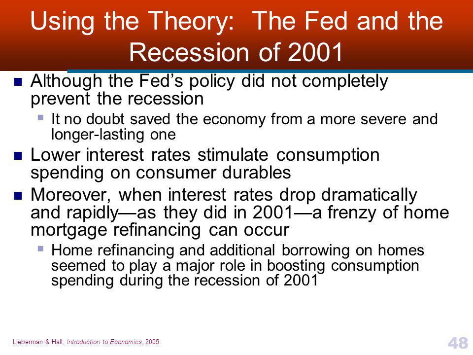 Lieberman & Hall; Introduction to Economics, 2005 48 Using the Theory: The Fed and the Recession of 2001 Although the Fed's policy did not completely