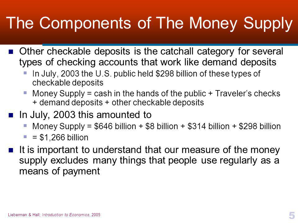 Lieberman & Hall; Introduction to Economics, 2005 5 The Components of The Money Supply Other checkable deposits is the catchall category for several types of checking accounts that work like demand deposits  In July, 2003 the U.S.