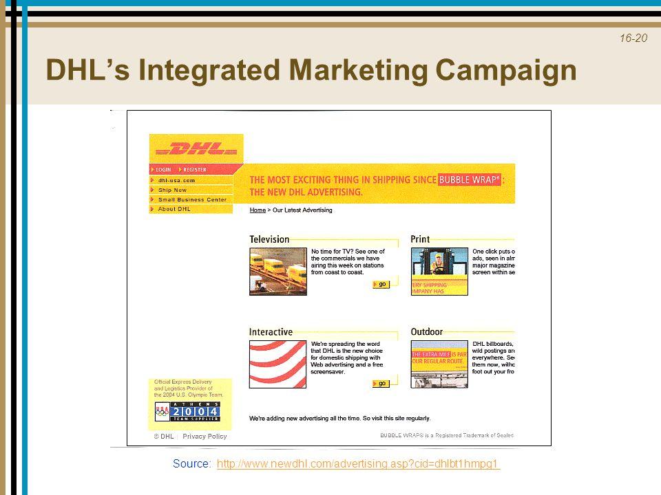 16-20 Source: http://www.newdhl.com/advertising.asp?cid=dhlbt1hmpg1http://www.newdhl.com/advertising.asp?cid=dhlbt1hmpg1 DHL's Integrated Marketing Ca