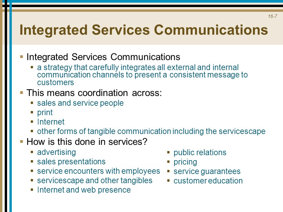 16-7 Integrated Services Communications  Integrated Services Communications  a strategy that carefully integrates all external and internal communic