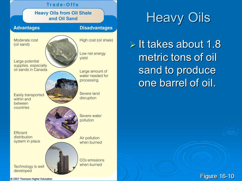 Heavy Oils  It takes about 1.8 metric tons of oil sand to produce one barrel of oil. Figure 16-10