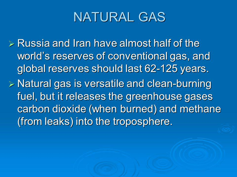 NATURAL GAS  Russia and Iran have almost half of the world's reserves of conventional gas, and global reserves should last 62-125 years.  Natural ga
