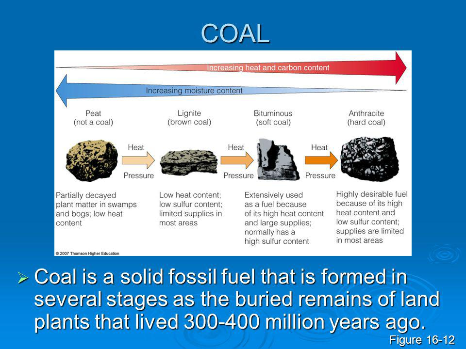 COAL  Coal is a solid fossil fuel that is formed in several stages as the buried remains of land plants that lived 300-400 million years ago. Figure