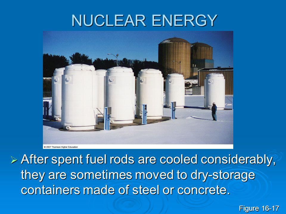 NUCLEAR ENERGY  After spent fuel rods are cooled considerably, they are sometimes moved to dry-storage containers made of steel or concrete. Figure 1