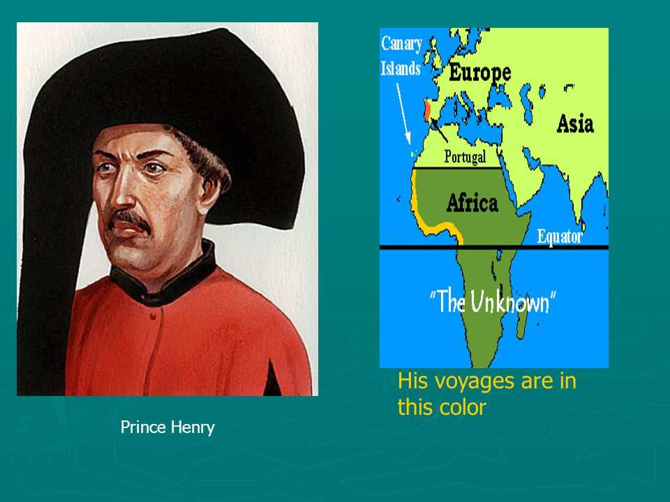 Prince Henry His voyages are in this color