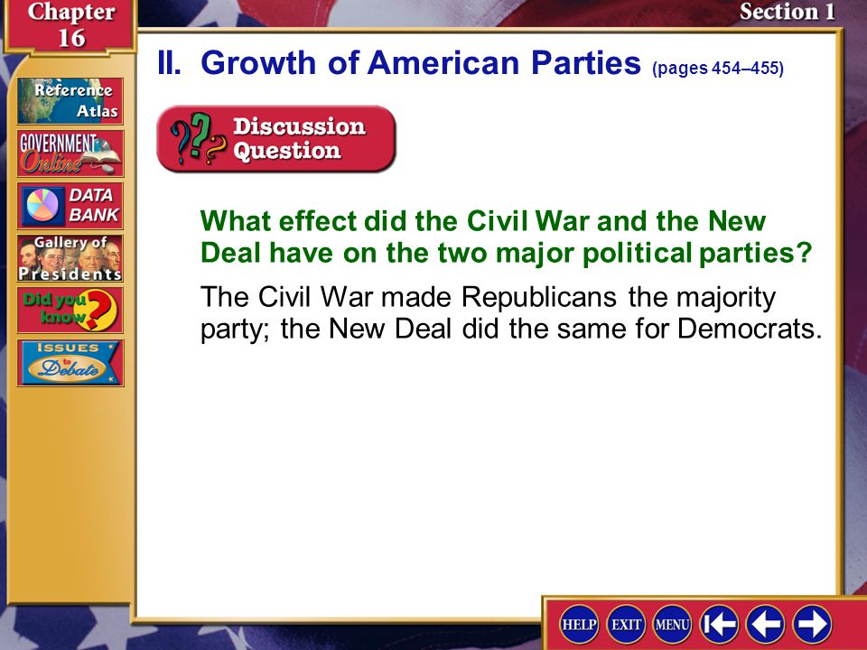 Section 1-6 II.Growth of American Parties (pages 454–455)