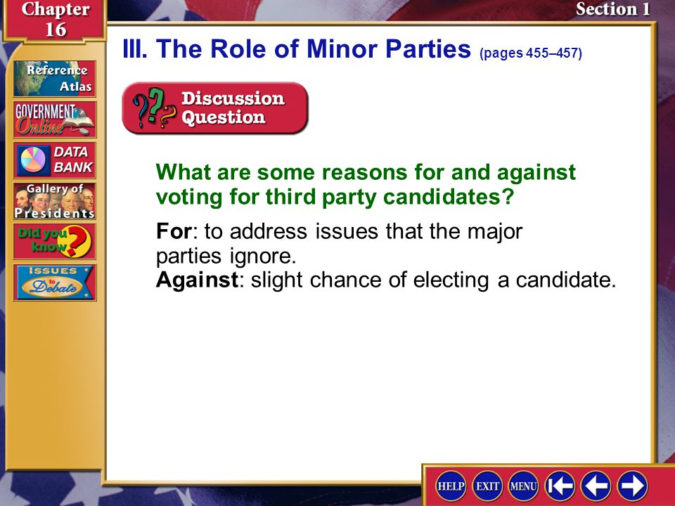 Section 1-10 III.The Role of Minor Parties (pages 455–457)