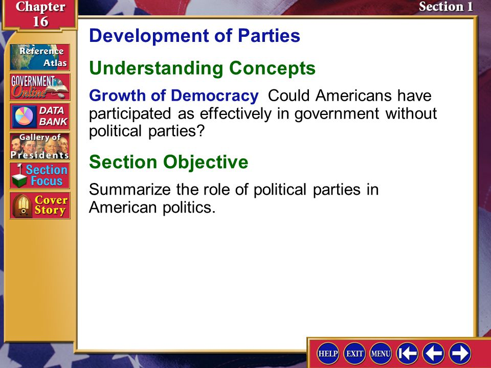 Section 1 Introduction-1 Development of Parties Key Terms political party, theocracy, ideologies, coalition government, third party, single-member dis