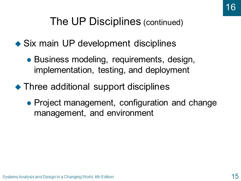16 Systems Analysis and Design in a Changing World, 4th Edition 15 The UP Disciplines (continued) u Six main UP development disciplines l Business mod