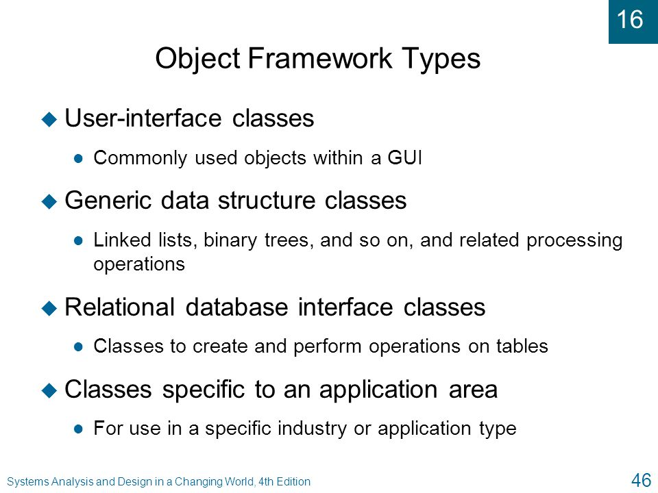 16 Systems Analysis and Design in a Changing World, 4th Edition 46 Object Framework Types u User-interface classes l Commonly used objects within a GU