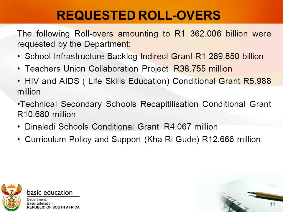 REQUESTED ROLL-OVERS The following Roll-overs amounting to R1 362.006 billion were requested by the Department: School Infrastructure Backlog Indirect Grant R1 289.850 billion Teachers Union Collaboration Project R38.755 million HIV and AIDS ( Life Skills Education) Conditional Grant R5.988 million Technical Secondary Schools Recapitilisation Conditional Grant R10.680 million Dinaledi Schools Conditional Grant R4.067 million Curriculum Policy and Support (Kha Ri Gude) R12.666 million 11