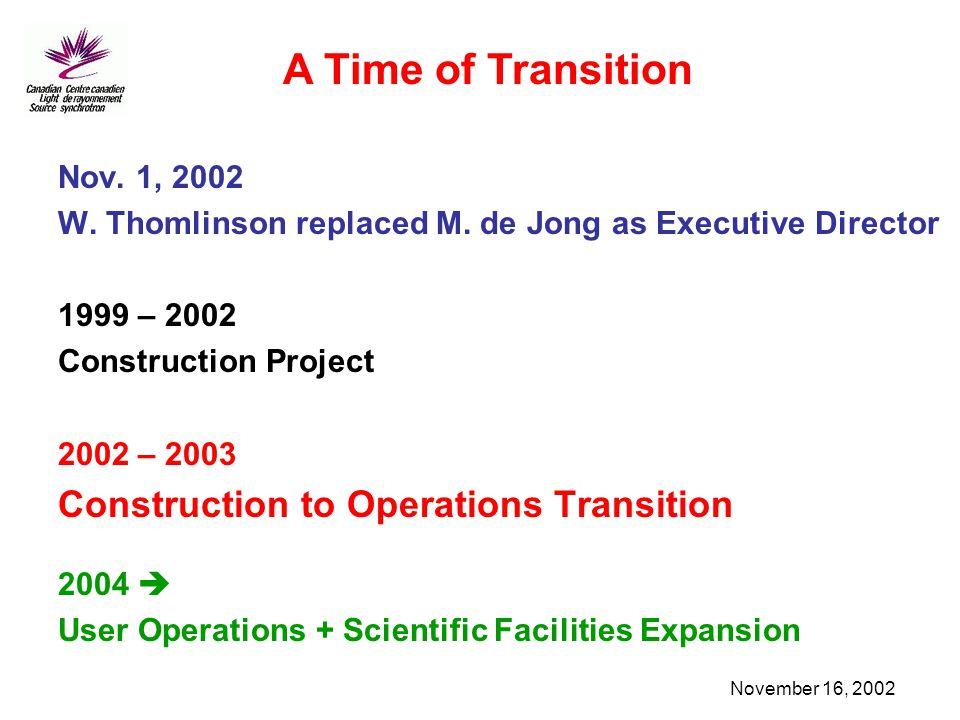 November 16, 2002 Nov. 1, 2002 W. Thomlinson replaced M. de Jong as Executive Director 1999 – 2002 Construction Project 2002 – 2003 Construction to Op