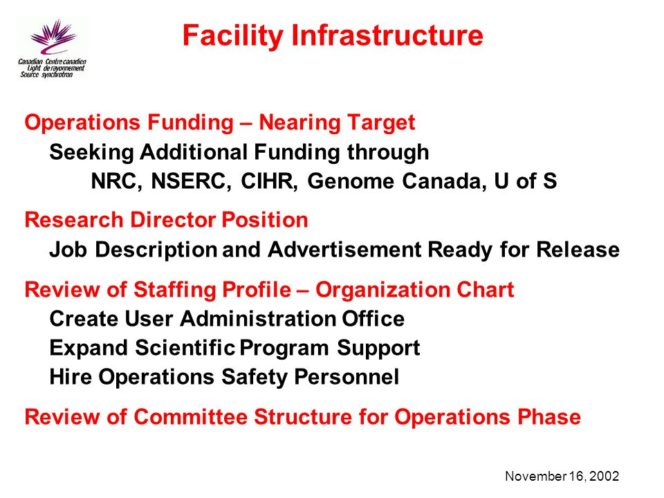 November 16, 2002 Facility Infrastructure Operations Funding – Nearing Target Seeking Additional Funding through NRC, NSERC, CIHR, Genome Canada, U of S Research Director Position Job Description and Advertisement Ready for Release Review of Staffing Profile – Organization Chart Create User Administration Office Expand Scientific Program Support Hire Operations Safety Personnel Review of Committee Structure for Operations Phase