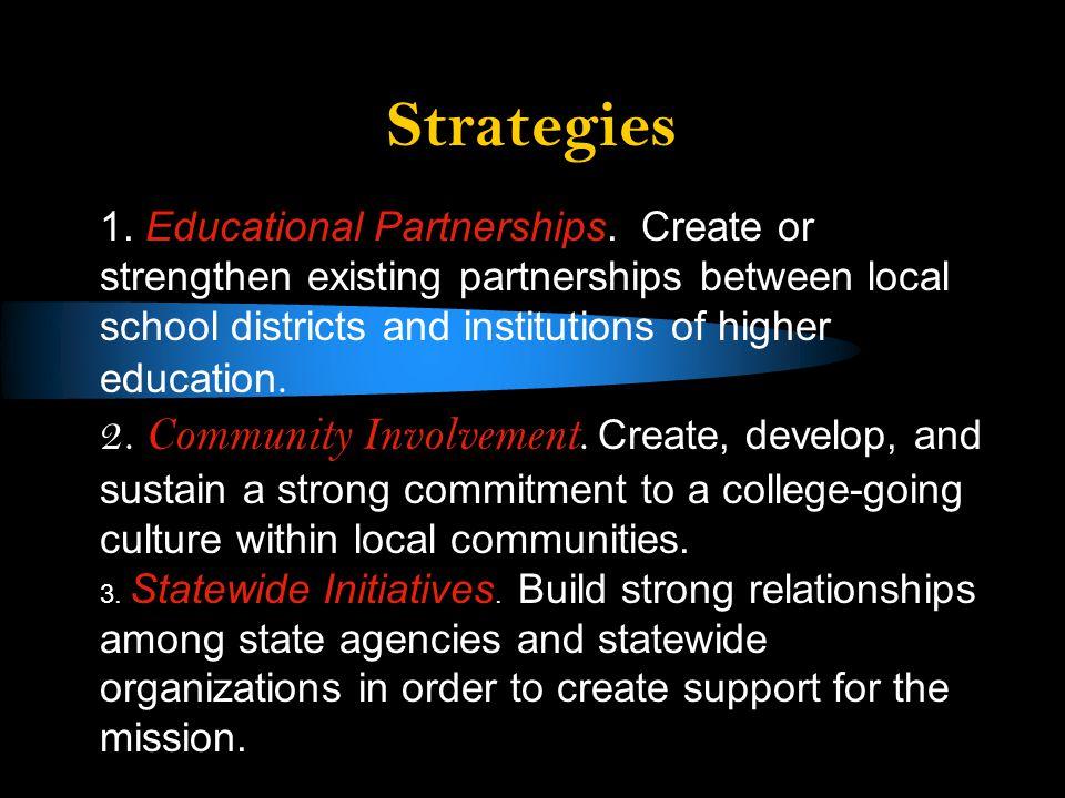 Strategies 1. Educational Partnerships.