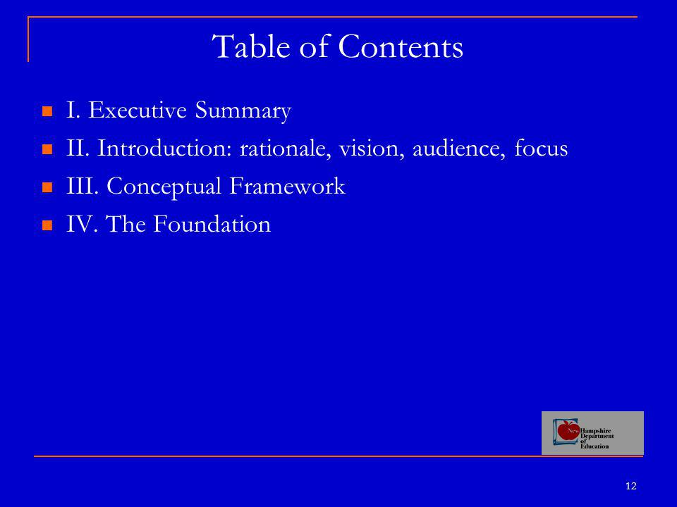 12 Table of Contents I.Executive Summary II. Introduction: rationale, vision, audience, focus III.