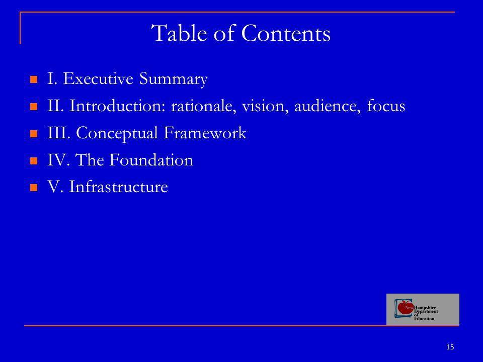 15 Table of Contents I.Executive Summary II. Introduction: rationale, vision, audience, focus III.