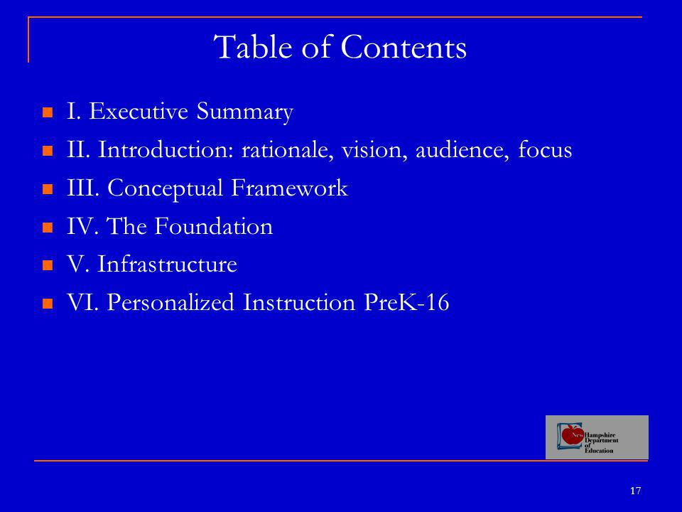 17 Table of Contents I.Executive Summary II. Introduction: rationale, vision, audience, focus III.