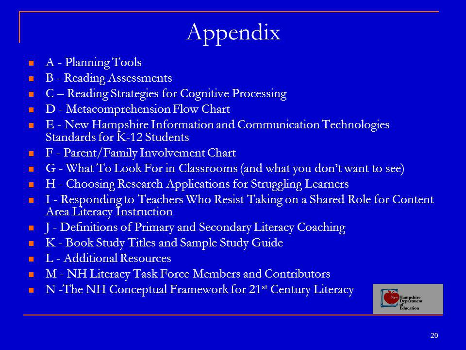 20 Appendix A - Planning Tools B - Reading Assessments C – Reading Strategies for Cognitive Processing D - Metacomprehension Flow Chart E - New Hampshire Information and Communication Technologies Standards for K-12 Students F - Parent/Family Involvement Chart G - What To Look For in Classrooms (and what you don't want to see) H - Choosing Research Applications for Struggling Learners I - Responding to Teachers Who Resist Taking on a Shared Role for Content Area Literacy Instruction J - Definitions of Primary and Secondary Literacy Coaching K - Book Study Titles and Sample Study Guide L - Additional Resources M - NH Literacy Task Force Members and Contributors N -The NH Conceptual Framework for 21 st Century Literacy