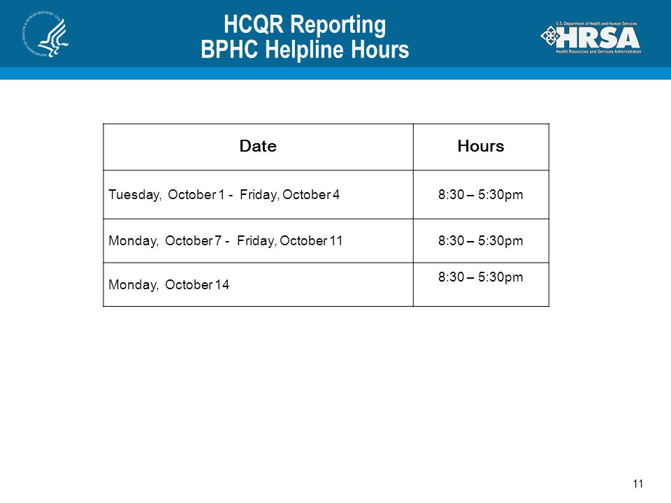 HCQR Reporting BPHC Helpline Hours 11 DateHours Tuesday, October 1 - Friday, October 48:30 – 5:30pm Monday, October 7 - Friday, October 118:30 – 5:30p