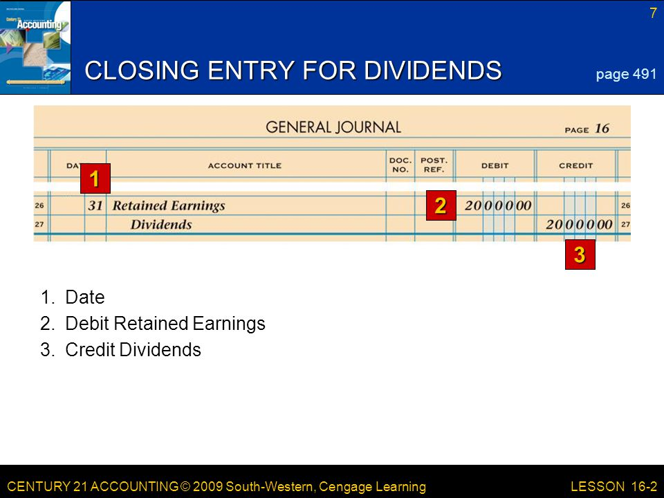 CENTURY 21 ACCOUNTING © 2009 South-Western, Cengage Learning 7 LESSON 16-2 CLOSING ENTRY FOR DIVIDENDS page 491 3.Credit Dividends 1.Date 2.Debit Retained Earnings 1 2 3