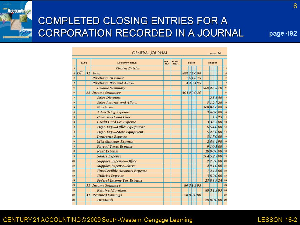 CENTURY 21 ACCOUNTING © 2009 South-Western, Cengage Learning 8 LESSON 16-2 COMPLETED CLOSING ENTRIES FOR A CORPORATION RECORDED IN A JOURNAL page 492