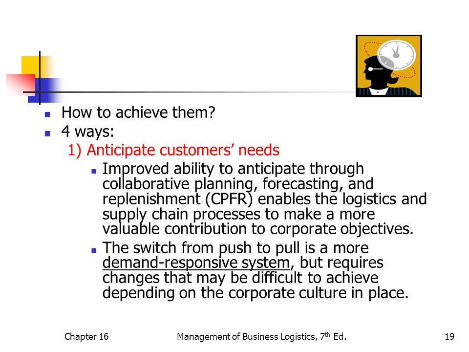 Chapter 16Management of Business Logistics, 7 th Ed.19 How to achieve them.