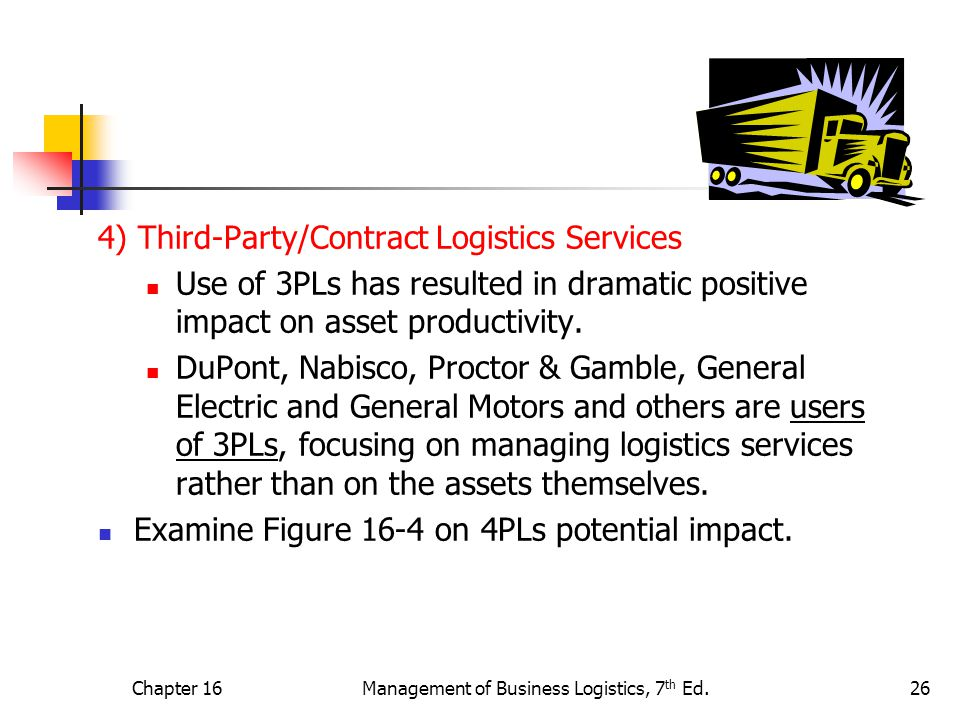 Chapter 16Management of Business Logistics, 7 th Ed.26 4) Third-Party/Contract Logistics Services Use of 3PLs has resulted in dramatic positive impact on asset productivity.
