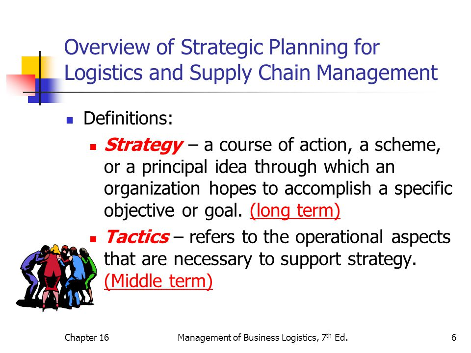 Chapter 16Management of Business Logistics, 7 th Ed.6 Overview of Strategic Planning for Logistics and Supply Chain Management Definitions: Strategy – a course of action, a scheme, or a principal idea through which an organization hopes to accomplish a specific objective or goal.