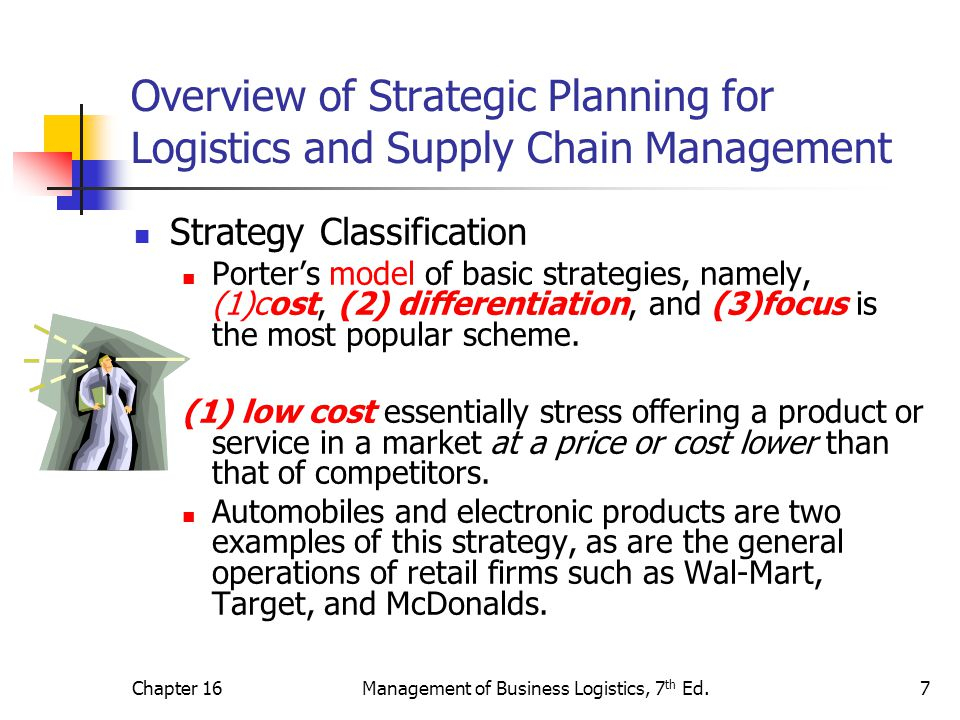 Chapter 16Management of Business Logistics, 7 th Ed.7 Overview of Strategic Planning for Logistics and Supply Chain Management Strategy Classification Porter's model of basic strategies, namely, (1)cost, (2) differentiation, and (3)focus is the most popular scheme.