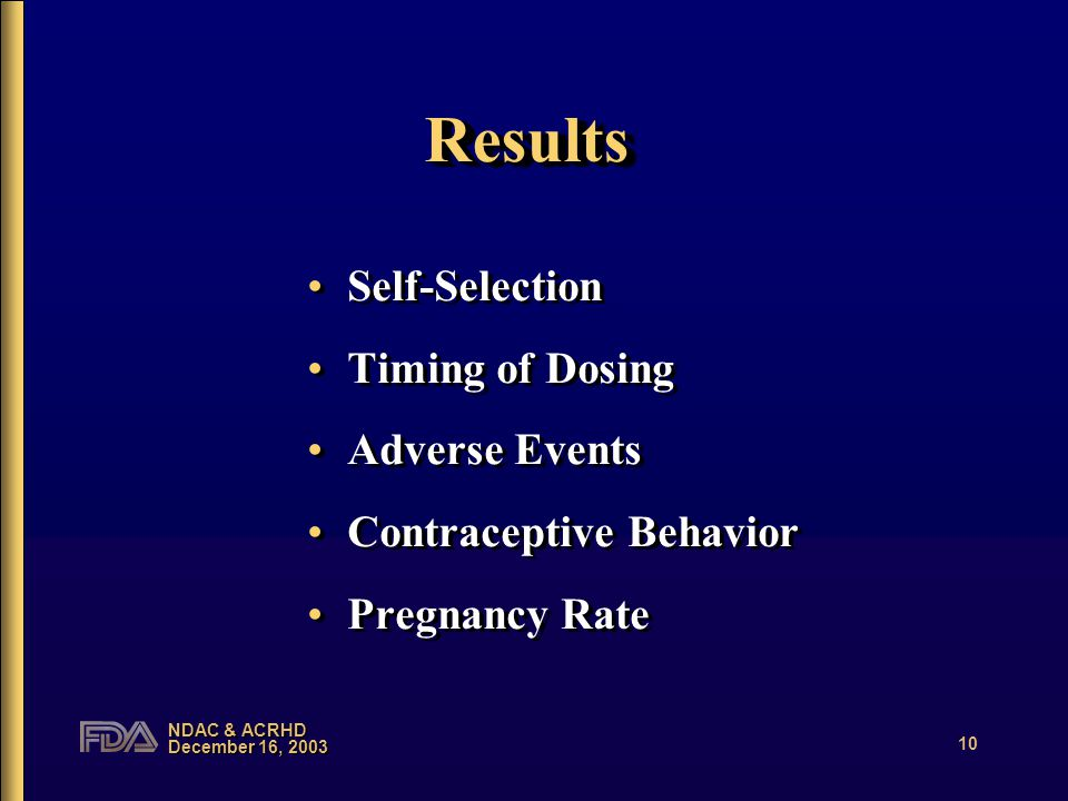 NDAC & ACRHD December 16, 2003 10 ResultsResults Self-Selection Timing of Dosing Adverse Events Contraceptive Behavior Pregnancy Rate Self-Selection Timing of Dosing Adverse Events Contraceptive Behavior Pregnancy Rate