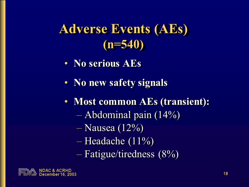 NDAC & ACRHD December 16, 2003 18 Adverse Events (AEs) (n=540) No serious AEs No new safety signals Most common AEs (transient): –Abdominal pain (14%) –Nausea (12%) –Headache (11%) –Fatigue/tiredness (8%) No serious AEs No new safety signals Most common AEs (transient): –Abdominal pain (14%) –Nausea (12%) –Headache (11%) –Fatigue/tiredness (8%)