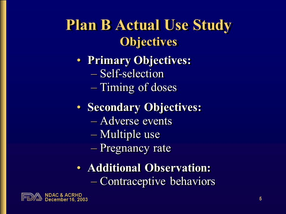 NDAC & ACRHD December 16, 2003 5 Plan B Actual Use Study Objectives Primary Objectives: –Self-selection –Timing of doses Secondary Objectives: –Adverse events –Multiple use –Pregnancy rate Additional Observation: –Contraceptive behaviors Primary Objectives: –Self-selection –Timing of doses Secondary Objectives: –Adverse events –Multiple use –Pregnancy rate Additional Observation: –Contraceptive behaviors