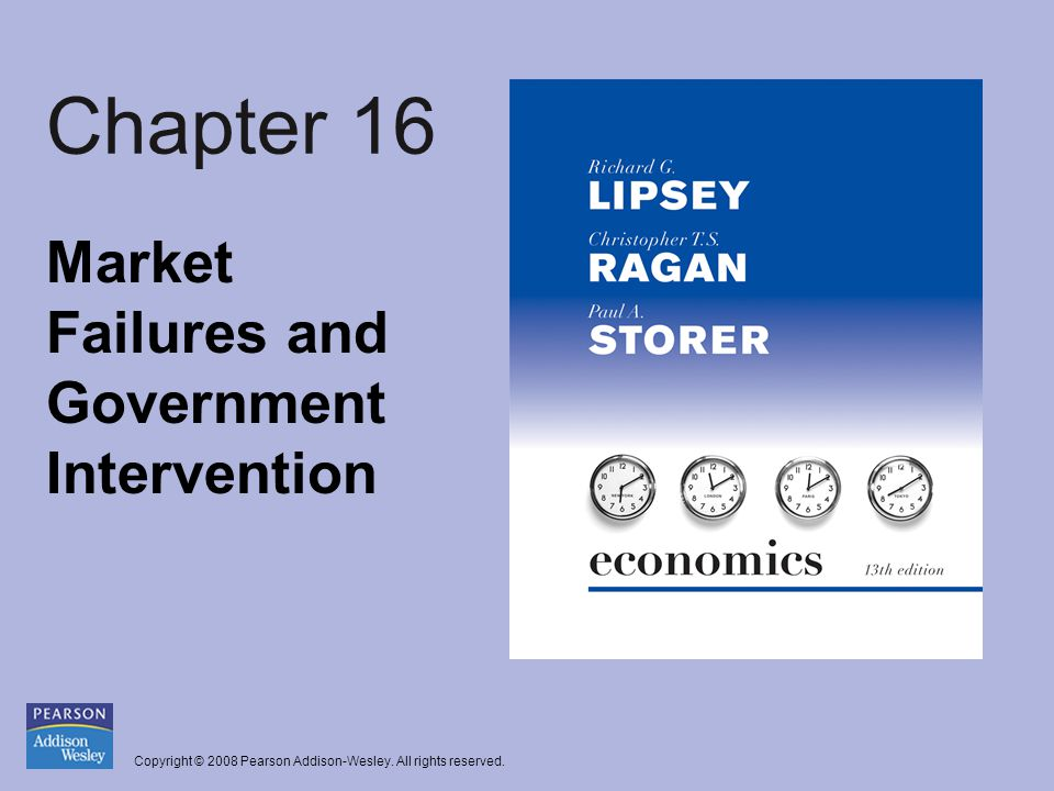 Copyright © 2008 Pearson Addison-Wesley. All rights reserved. Chapter 16 Market Failures and Government Intervention