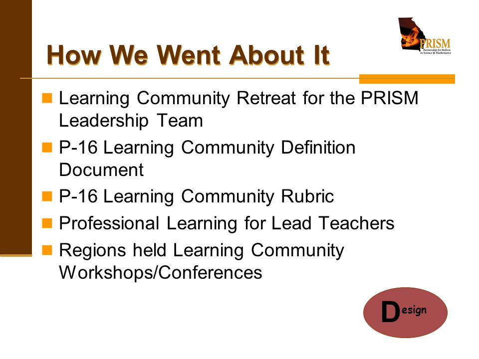 The Process Model Student SM data for K-12 schools Create P-16 Learning Community Model Literature Review on K-12 and higher education learning community models PRISM school, district, and regional learning communities are implemented Short Term Outcomes – Faculty participate in P-16 PRISM learning communities Long Term Outcomes – Improved Teacher Quality, working conditions, & student achievement in SM!