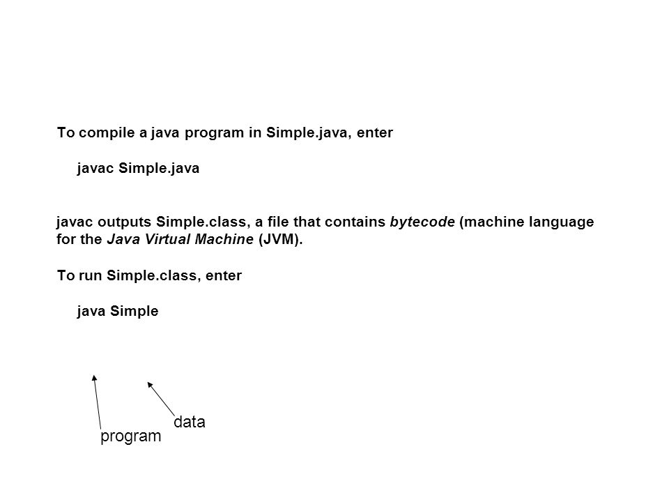 To compile a java program in Simple.java, enter javac Simple.java javac outputs Simple.class, a file that contains bytecode (machine language for the Java Virtual Machine (JVM).