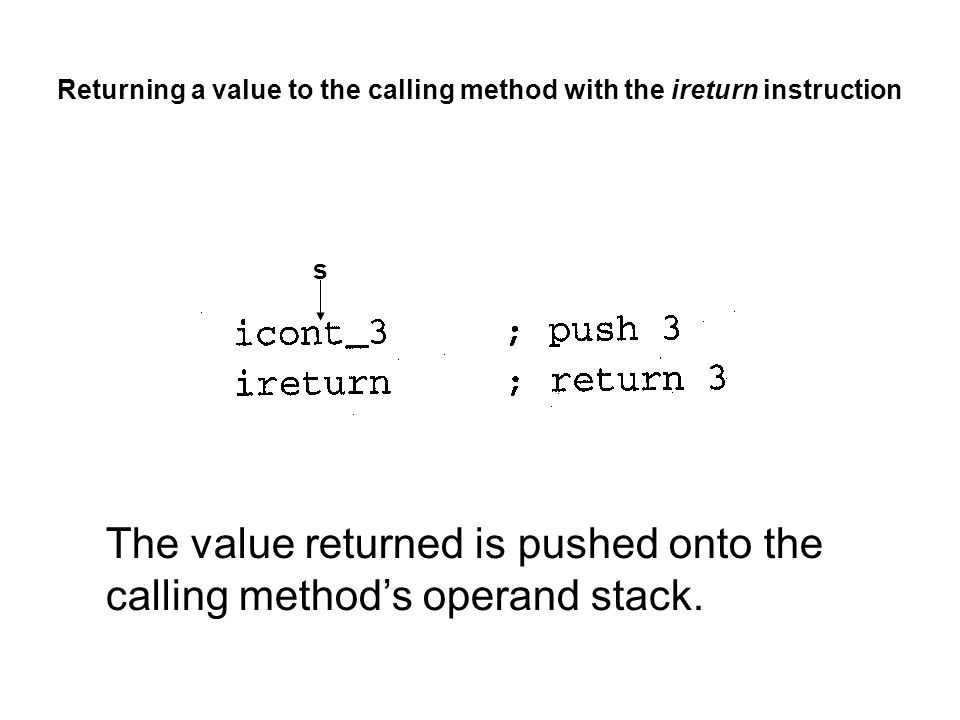 Returning a value to the calling method with the ireturn instruction The value returned is pushed onto the calling method's operand stack.