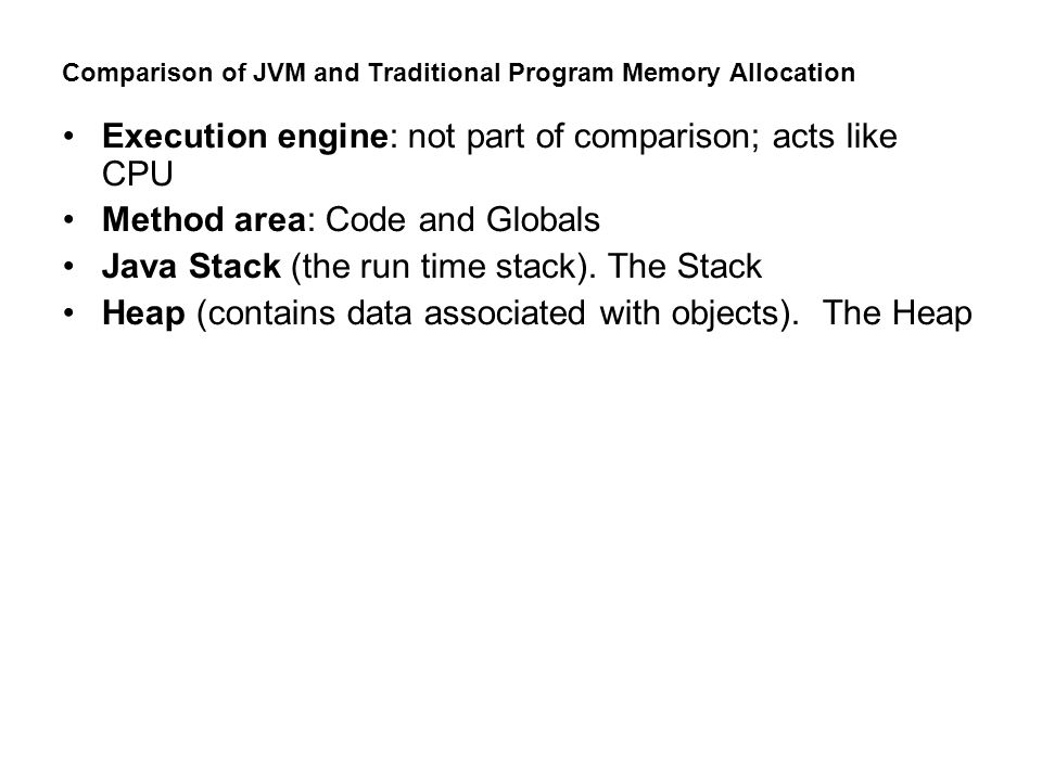 There are two types of stacks in the JVM The Java stack The Java stack consists of frames, one frame for each method invocation.