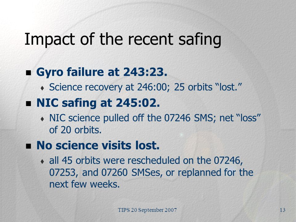 TIPS 20 September 200713 Impact of the recent safing Gyro failure at 243:23.
