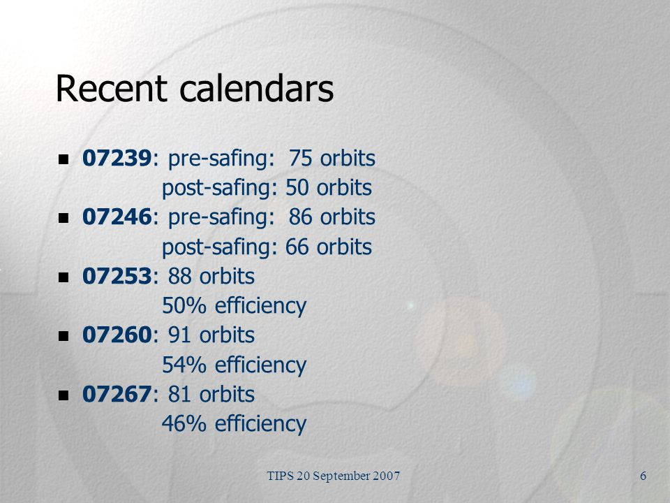 TIPS 20 September 20076 Recent calendars 07239: pre-safing: 75 orbits post-safing: 50 orbits 07246: pre-safing: 86 orbits post-safing: 66 orbits 07253: 88 orbits 50% efficiency 07260: 91 orbits 54% efficiency 07267: 81 orbits 46% efficiency