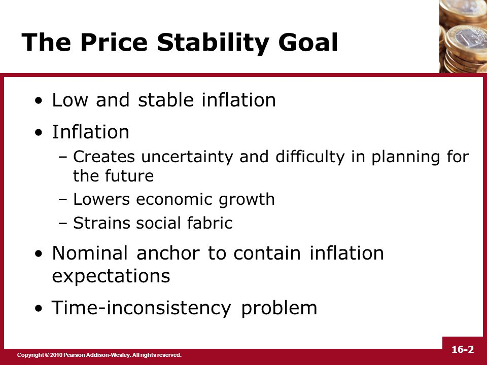 Copyright © 2010 Pearson Addison-Wesley. All rights reserved. 16-2 The Price Stability Goal Low and stable inflation Inflation –Creates uncertainty an