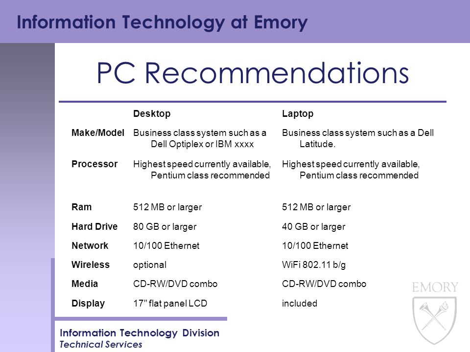 Information Technology at Emory Information Technology Division Technical Services PC Recommendations DesktopLaptop Make/ModelBusiness class system such as a Dell Optiplex or IBM xxxx Business class system such as a Dell Latitude.