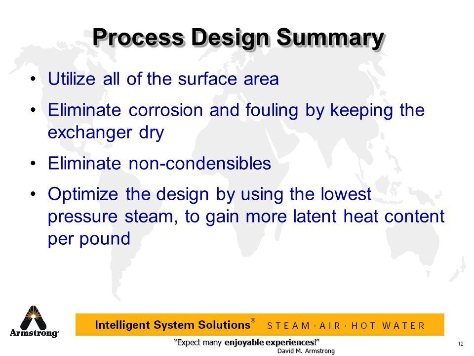 """Expect many enjoyable experiences!"" David M. Armstrong ""Expect many enjoyable experiences!"" David M. Armstrong ® 12 Process Design Summary Utilize al"